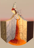 Vulkaneruptions-Rauchasche, Spalte Stockfotos