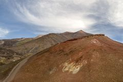 Vulkanetna krater Catania Italien royaltyfria foton