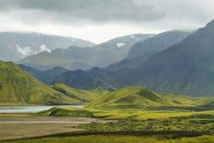 Vulkanisch die landschap met mos wordt behandeld royalty-vrije stock foto