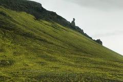 Vulkanisch die landschap met mos wordt behandeld Stock Afbeelding