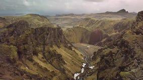 Vulkanisch landschap in IJsland stock videobeelden