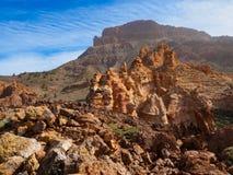 Vulkanisch landschap in Parque Nacional del Teide op Tenerife Stock Fotografie