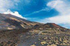 Vulkanisch landschap van Onderstel Etna in Sicilië stock fotografie