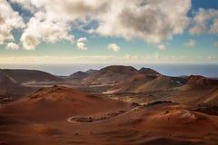 Vulkanisch landschap van Timanfaya Stock Afbeeldingen