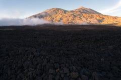 Vulkanisch lavalandschap op Teide Stock Fotografie