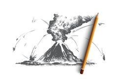 Vulkanisch uitbarstingsconcept Hand getrokken geïsoleerde vector Royalty-vrije Stock Foto's