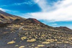 Vulkanische as en sulfiden op Onderstel Etna stock afbeelding
