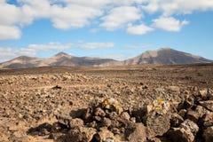 Vulkanische badlands, Lanzarote, Canarische Eilanden stock fotografie