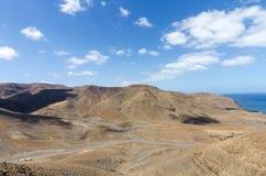 Vulkanische badlands van Fuerteventura stock foto