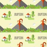 Vulkanische Eruption des nahtlosen Musters des Vektors Rauch und Lava vom Krater, vom Dorf und von den Bäumen am Fuß Verwendet fü stock abbildung