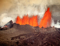 Vulkanische Eruption in Holuhraun Island (2014) Lizenzfreies Stockfoto