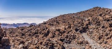 Vulkanische Felsen, Berg Teide, Ansicht von Teleferico, Teneriffa, Kanarische Inseln, Spanien lizenzfreie stockfotografie