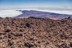 Vulkanische Felsen, Berg Teide, Ansicht von Teleferico, Teneriffa, Kanarische Inseln, Spanien stockfoto