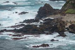 Vulkanische Felsen, Schlossform, Atlantik, Azoren-Inseln stockfoto