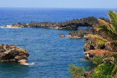 Vulkanische Küstenlinie auf Westmaui, Hawaii Stockfoto