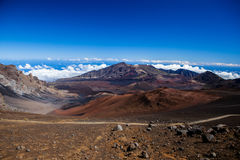 Vulkanische krater bij het Nationale Park van Haleakala op het Eiland Maui, Hawaï Stock Foto's