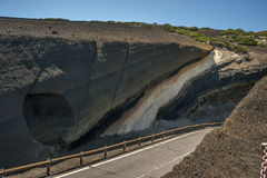 Vulkanische Landschaft auf dem Weg zum Vulkan Teide auf Teneriffa, Stockfoto