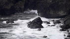 Vulkanische Overzeese Kust met Golven Aard van Jeju-Eiland, Zuid-Korea stock footage