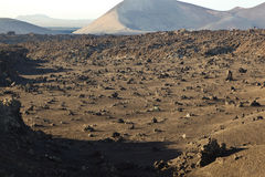 Vulkanische Steinbildungen in Nationalpark Timanfaya in Lanzarot Stockbilder