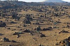 Vulkanische Steinbildungen in Nationalpark Timanfaya in Lanzarot Stockfotografie