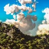 Vulkanische uitbarsting bij eiland het 3d teruggeven Royalty-vrije Stock Afbeelding