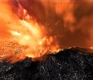 Vulkanische uitbarsting op eiland Stock Afbeelding