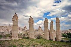 Vulkanische vormingen in Cappadocia - Turkije Stock Afbeelding
