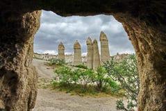 Vulkanische vormingen in Cappadocia - Turkije Stock Fotografie