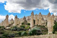 Vulkanische vormingen in Cappadocia - Turkije royalty-vrije stock afbeelding