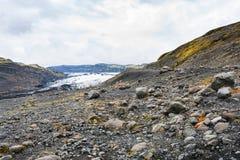 vulkanisches Tal und Solheimajokull-Gletscher Lizenzfreies Stockbild