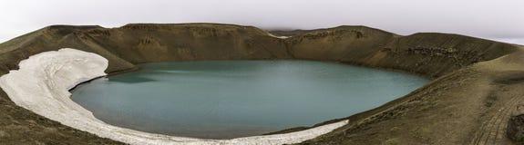 Vulkanisk explosionkrater Viti på Krafla Volcano Iceland Fotografering för Bildbyråer