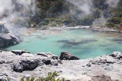Vulkanisk sjö på waimanguen Arkivbilder