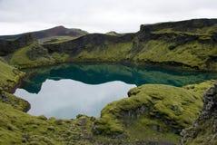 Vulkanisk sjö Tjarnargigur - Island Royaltyfria Bilder