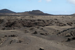 Vulkaniska berg och krater på Lanzarote Arkivfoto