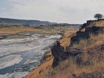 Vulkaniska landskap av sjön Magadi Royaltyfri Foto