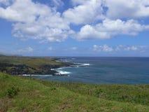 Vulkaniska Lava Coastline av Rapa Nui Fotografering för Bildbyråer