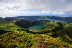 Vulkaniska sjöar från sju städer Fotografering för Bildbyråer