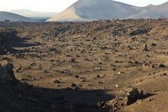 Vulkaniska stenbildande i den Timanfaya nationalparken i Lanzarot Arkivbilder