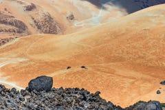 Vulkaniskt bombarderar på Montana Blanca, den Teide nationalparken, Tenerife Royaltyfria Foton