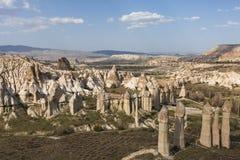 Vulkaniskt vagga bildande i Cappadocia som är bekant som felika lampglas, Turkiet Royaltyfri Fotografi