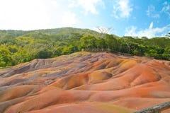 Vulkanjord i Chamarel, Mauritius Arkivbilder