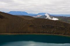 Vulkankrater Viti med sjön inom på Krafla vulkaniskt område Fotografering för Bildbyråer