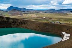Vulkankrater Viti med turkossjön inom, Krafla vulkaniskt område, Island Royaltyfria Foton