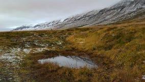 Vulklei en sneeuw behandelde fjord op een koude de herfstdag stock foto's