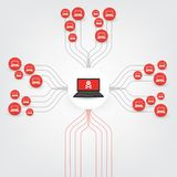 Vulnerabilità, dispositivi bloccati, archivi cifrati, documenti persi, attacco di Ransomware - venuto a mancare, protezione vulne Fotografia Stock