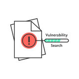 Vulnerability search thin line icon. Concept of success, verify, loss, infringement, violation, accountant, scan. isolated on white background. flat style Royalty Free Stock Image