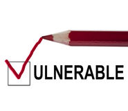 Vulnerable message. And red pencil royalty free stock images
