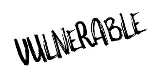 Vulnerable rubber stamp. Grunge design with dust scratches. Effects can be easily removed for a clean, crisp look. Color is easily changed stock illustration