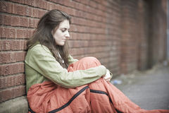 Vulnerable Teenage Girl Sleeping On The Street Stock Images