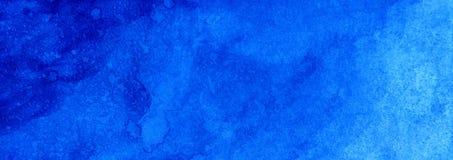 Vult de Mariene of marineblauwe de waterverfgradiënt van de Webbanner achtergrond Watercolourvlekken Samenvatting geschilderd mal stock afbeelding